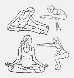 meditation yoga sport hand drawing vector image