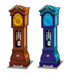 Stylish antique grandfather clocks made of wood vector