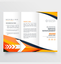 Orange business tri fold leaflet brochure design vector