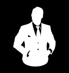 bussines man stencil avatar vector image