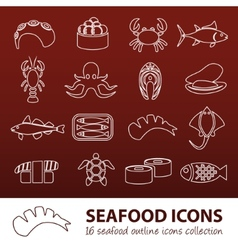 Seafood outline icons vector