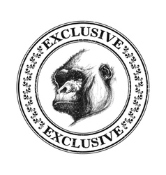 Ape head logo in black and white vector