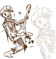 Punk rock guitarist hand draw vector