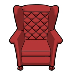Vintage red leather armchair view front vector
