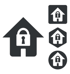 Locked house icon set monochrome vector