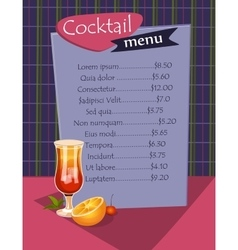Cocktail menu template vector