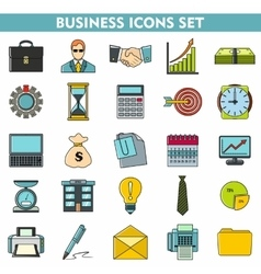 Modern cartoon icons set of corporate management vector