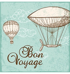 Vintage background with air balloons vector
