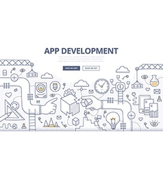 Application development doodle concept vector