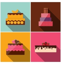 Birthday cake flat icon for your design vector