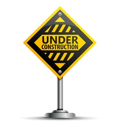 Pole with under construction sign vector
