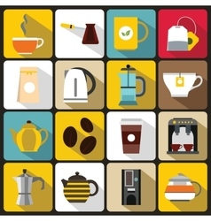 Tea and coffee icons set flat style vector