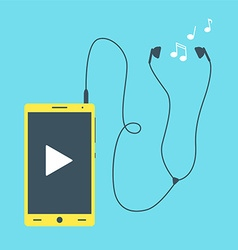 Mobile phone with earphones vector