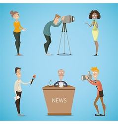 Journalists reporters cameraman photographer vector