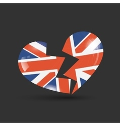 Broken heart with united kingdom flag texture vector