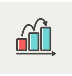 Business sales increase thin line icon vector