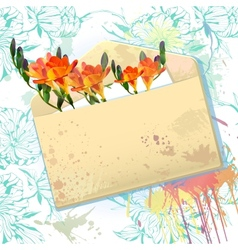 Card with grunge envelope and orange freesia vector