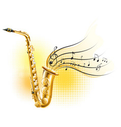 Classic saxophone with music notes vector