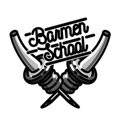 color vintage barmen school emblem vector image