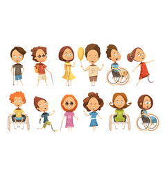 Disabled kids set vector