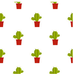 Green cactus in red pot pattern seamless vector