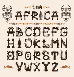 Hand drawn pattern with tribal font typeface and vector