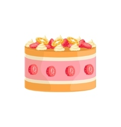 Jelly cake with strawberries and orange decorated vector