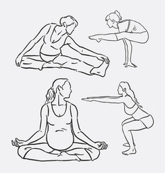 Meditation yoga sport hand drawing vector