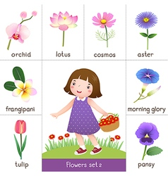 Printable flash card for flowers and little girl vector
