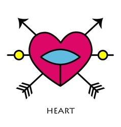 Red heart with arrows vector image