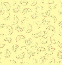 seamless pattern with bananas and watermelons on vector image vector image