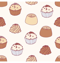 Seamless pattern with hand drawn chocolate candies vector