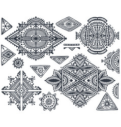 Set of seven tribal art boho hand drawn geometric vector
