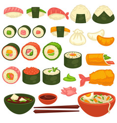 Sushi rolls and sashimi japanese cuisine vector