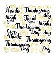 Thanksgiving day lettering design vector