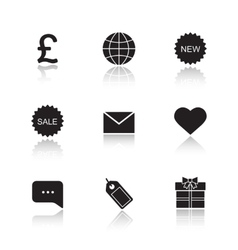 Web store drop shadow icons set vector