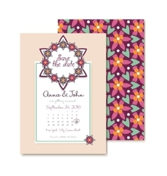 Wedding invitations floral card in vector