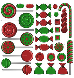 with christmas red and green sweets vector image vector image