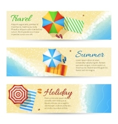 Summer travel banners with sea beach vector