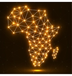 Abstract polygonal africa map with glowing dots vector