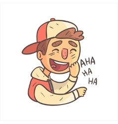 Laughing boy in cap and college jacket hand drawn vector