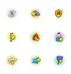 Crash icons set pop-art style vector
