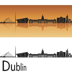 Dublin skyline in orange background vector