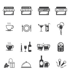 cafe coffee shop and restaurant icon set vector image