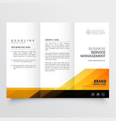 Abstract orange and black tri fold brochure vector