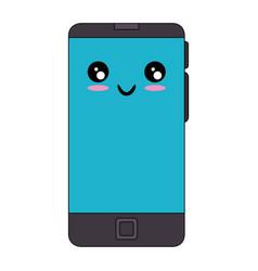 smartphone mobile technology kawaii cartoon vector image