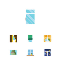 Flat icon window set of frame curtain glass vector