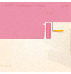 paint and roller background pink2 vector image
