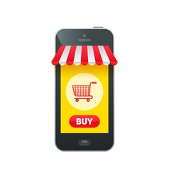 Online market in smartphone icon vector