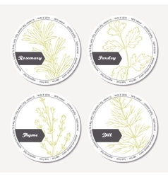 Set of stickers for package design with rosemary vector